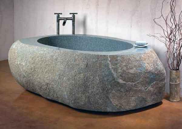 Vasca e lavandino in pietra scolpita ceramiche bagno - Vasca da bagno in pietra ...