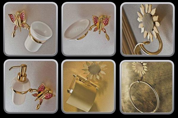 accessori bagno con farfalle e fiori | ceramiche bagno - Arredo Bagno Thun