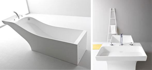 Symbiosis di desnahemisfera fusione tra vasca e lavabo ceramiche bagno - Come lucidare una vasca da bagno opaca ...